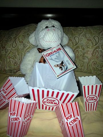 Movie night fun at Barbara Viteri's house includes buckets of flavored popcorn.