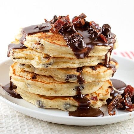 Chocolate Chip & Candied Bacon Pancakes with Nutella Recipe