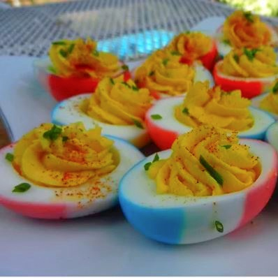 Red, white and blue deviled eggs recipe