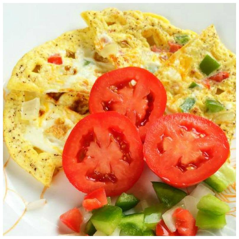 Omelet egg waffles