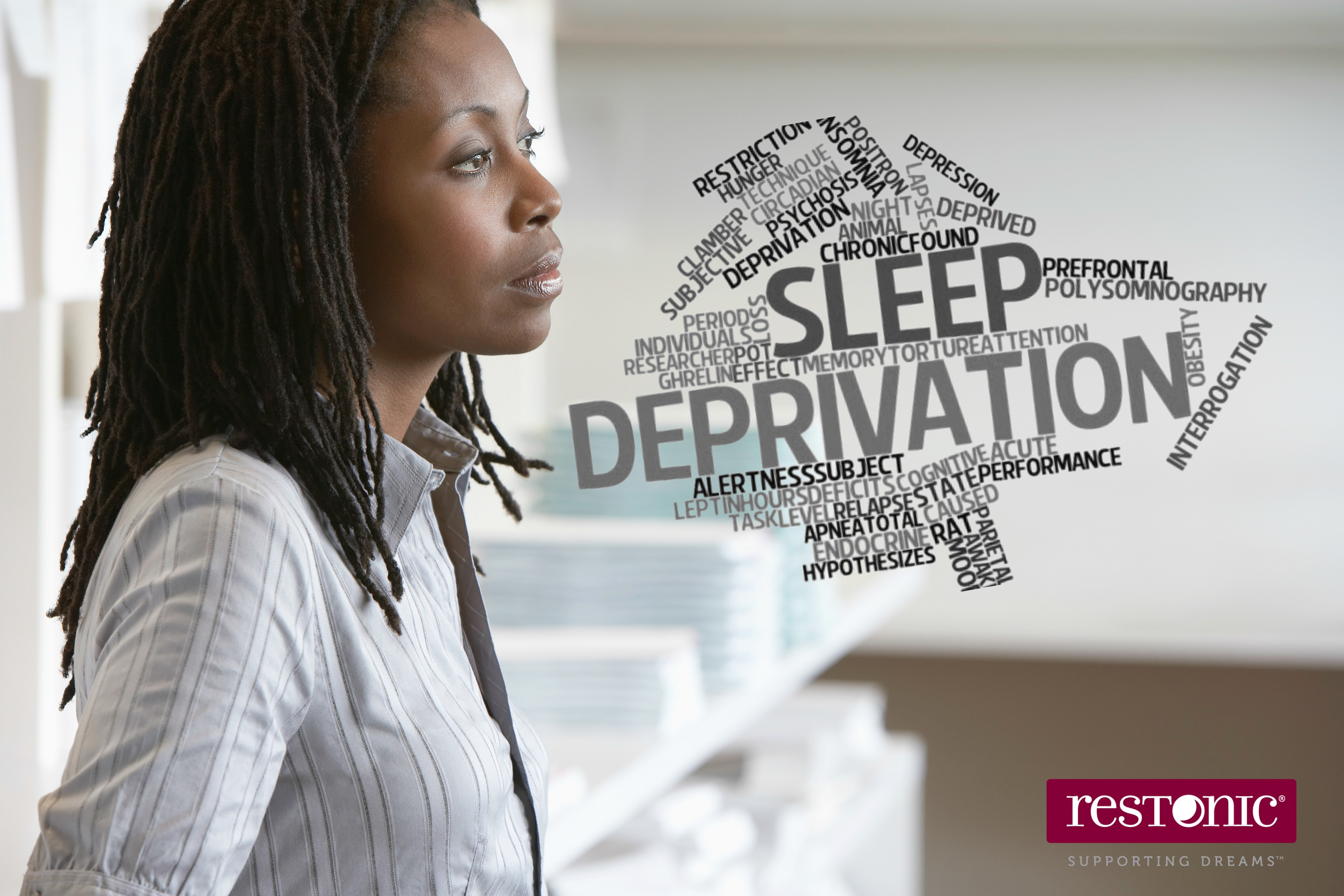 Woman pondering how shiftwork and irregular bedtimes wreak havoc on her sleep. | Word cloud on Sleep Deprivation