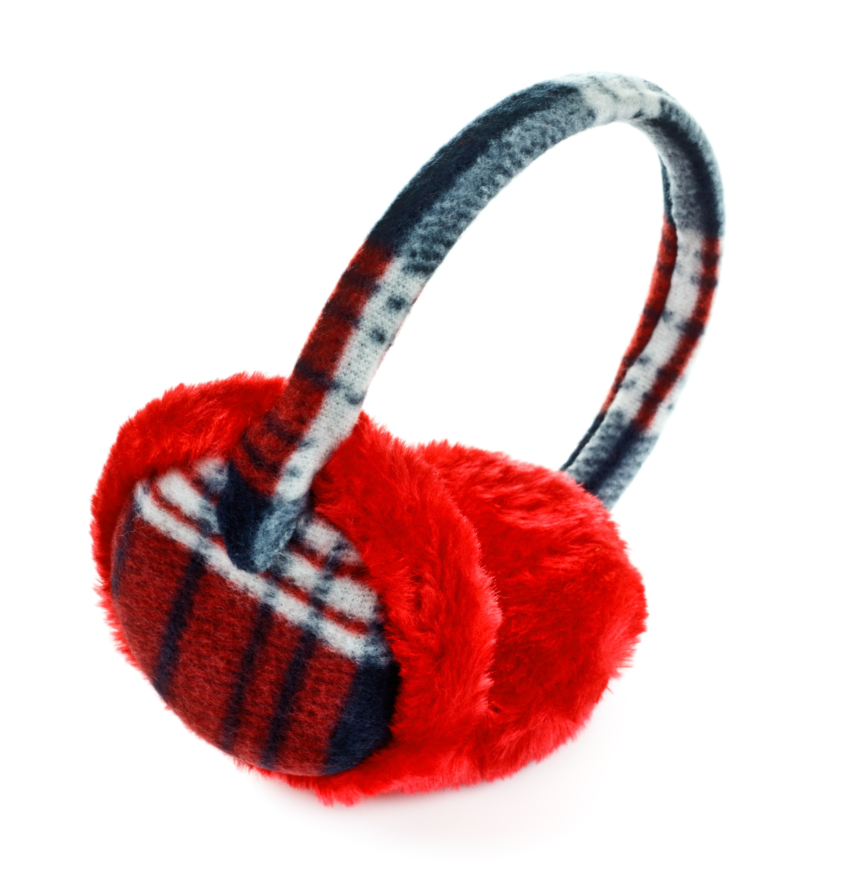 Red plaid earmuffs are useful to limit noise while staying at a hotel.