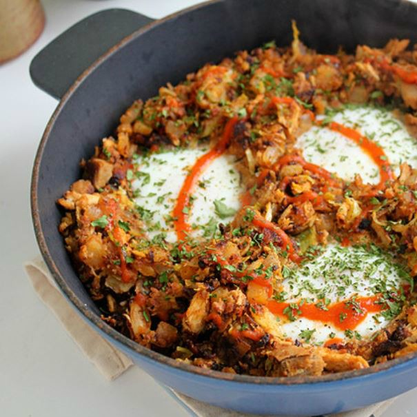 leftover turkey & chorizo breakfast hash