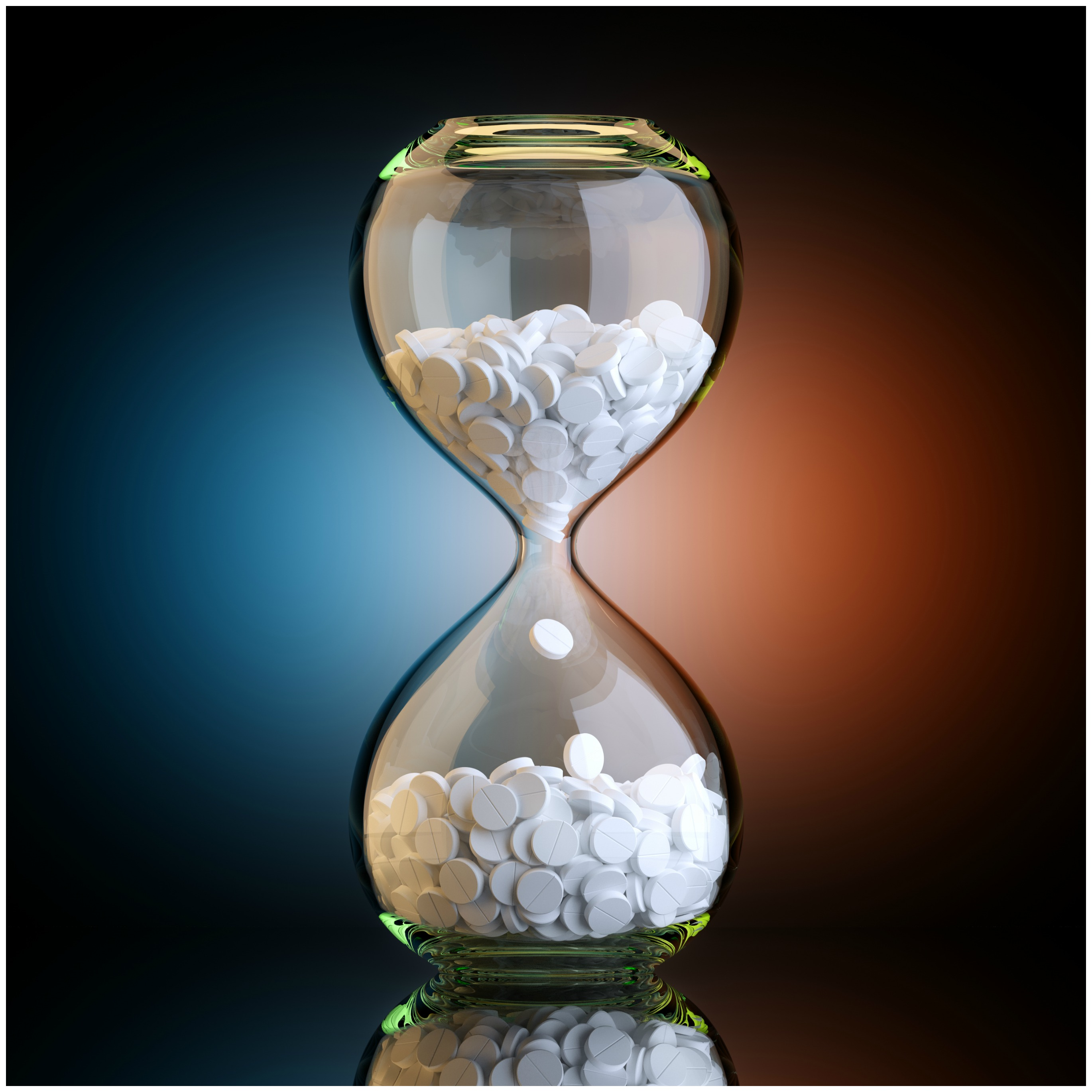 Clear hourglass that is filled with magnesium tablets falling from the top to the bottom. Magnesium leads to better sleep.
