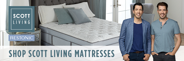 A Scott Living Mattress with Jonathan and Drew Scott in the foreground | Shop Scott Living Mattresses