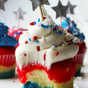 Memorial Day Picnic Red White and Blue Cupcakes