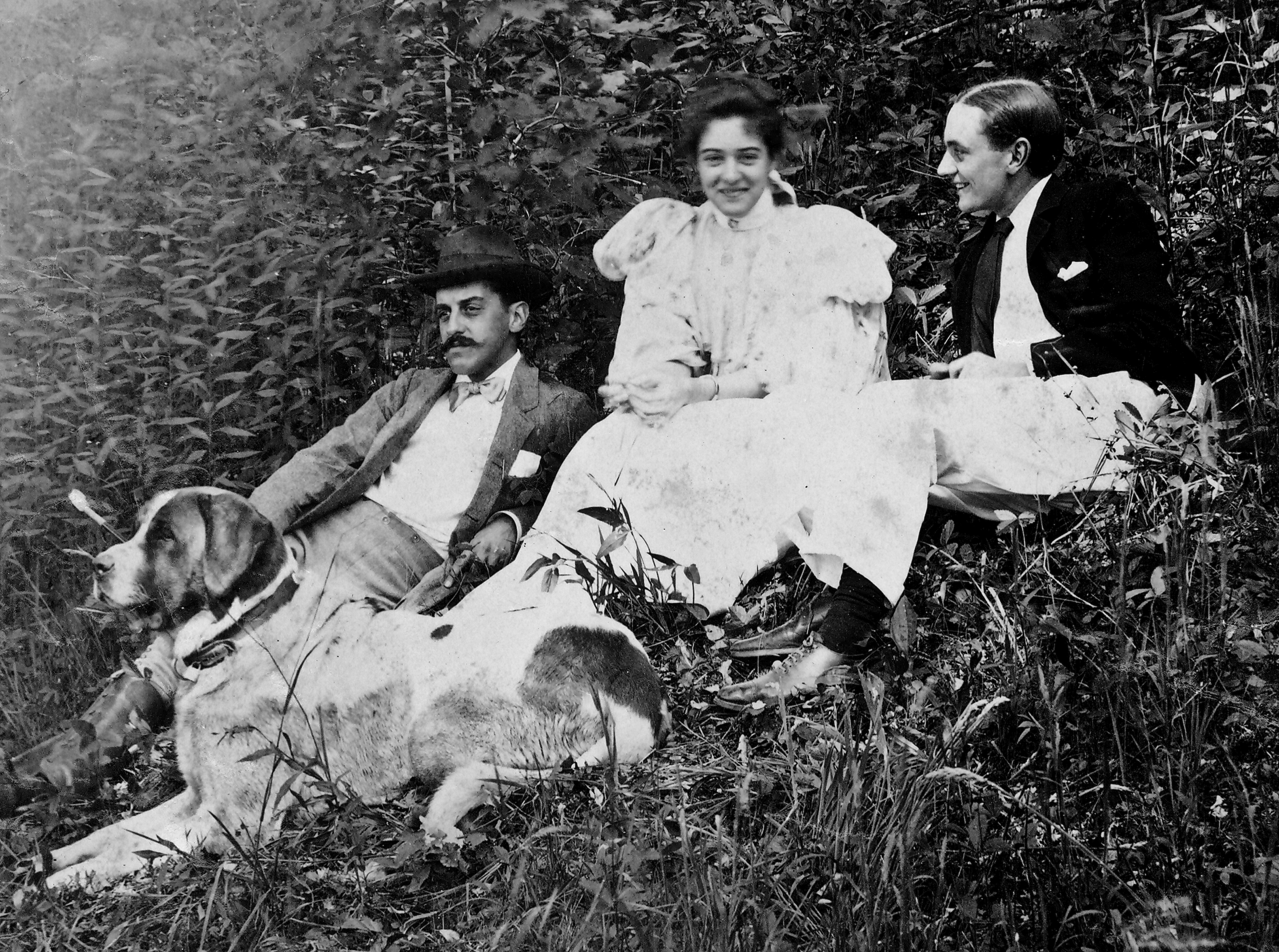 George Vanderbilt with Adele and Jay Burden and Cedric, the dog. June 1896.