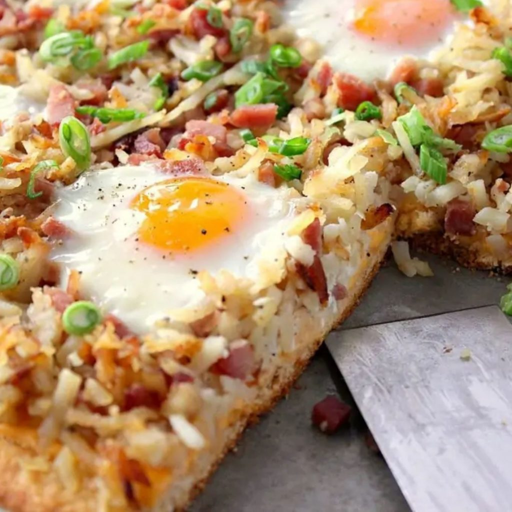 Sunny Side Up Hash Brown Breakfast Pizza Recipe