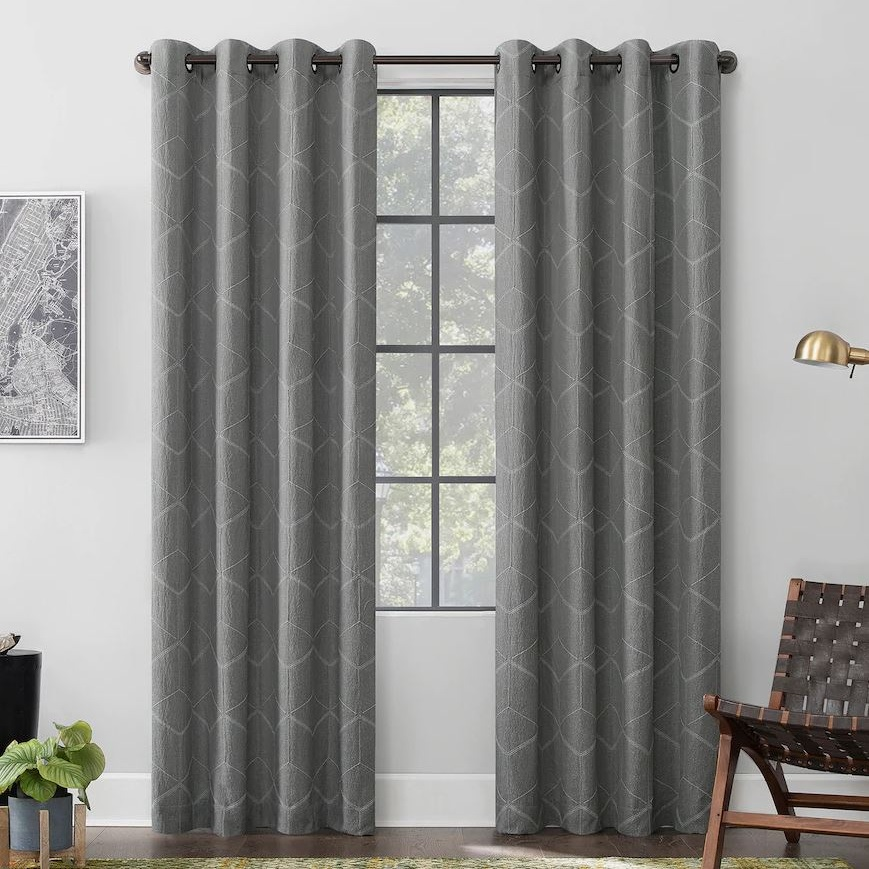 Elkay Total Blackout Geometric Grommet Window Curtain