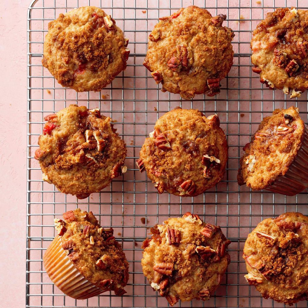 Nut-Topped Strawberry Rhubarb Muffin Recipe