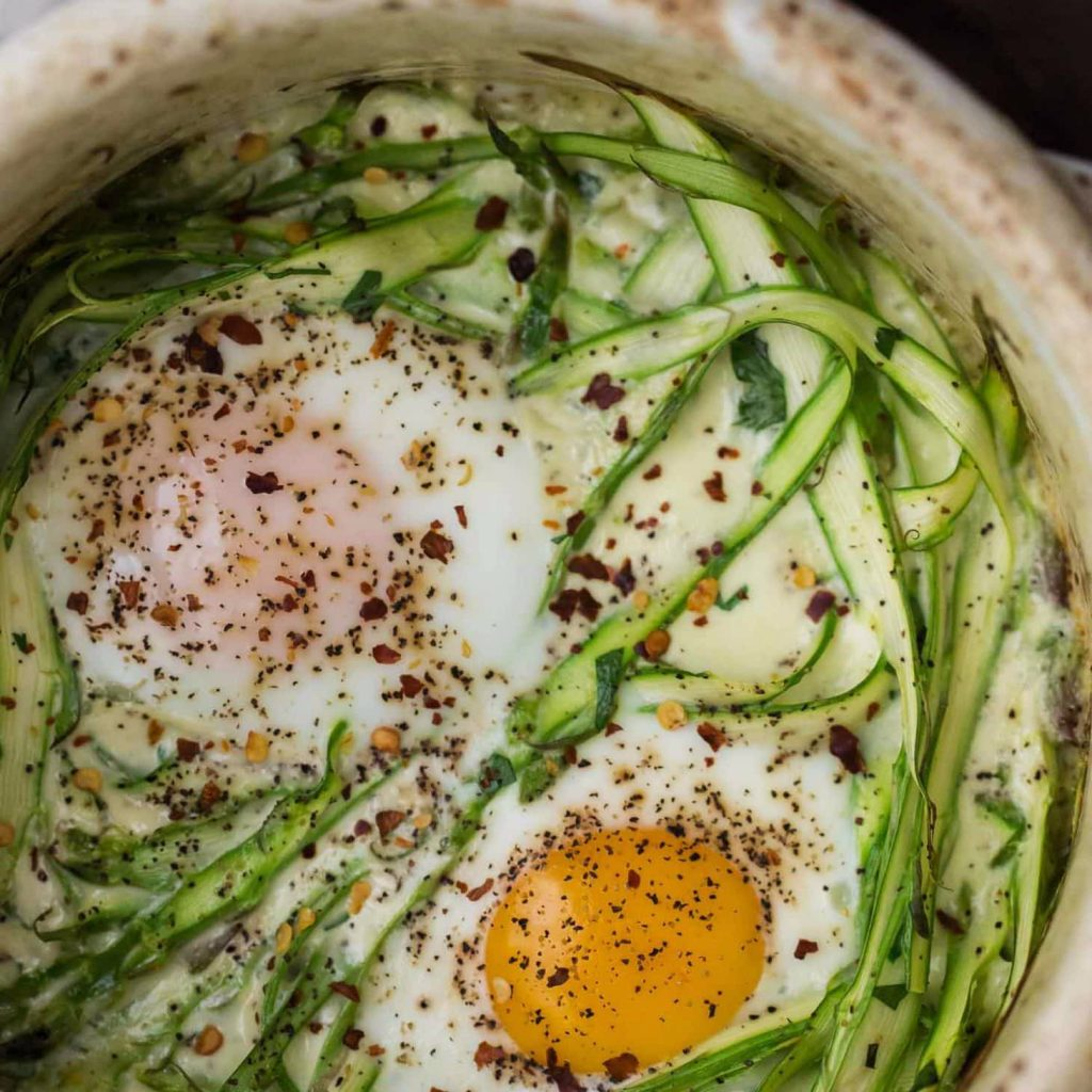 Cream Baked Eggs with Asparagus and Herbs Recipe