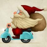 Santa on a teal scooter