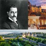 Collage of George Vanderbilt, the Biltmore Estate, and the Biltmore House Library.